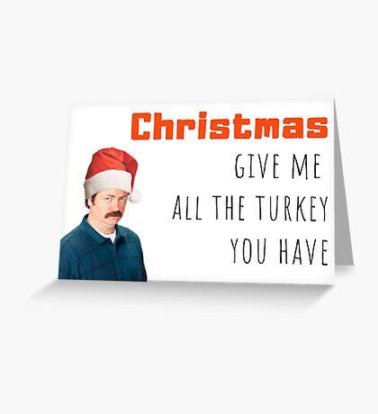 Navidad, Ron Swanson, Parques y recreación, Cool, Comedia, Humor, Parodia, Turquía, Cena de Navidad, Paquetes de pegatinas, Regalos, Regalos Tarjeta de felicitación