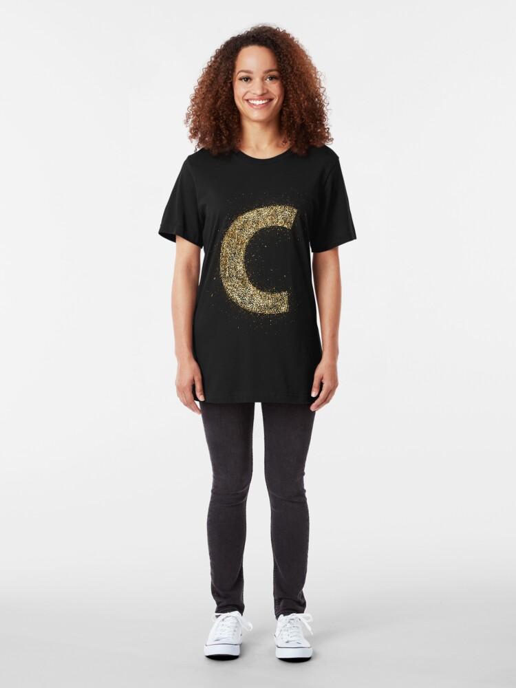 Vista alternativa de Camiseta ajustada Letters abc wood golden ornament Gold