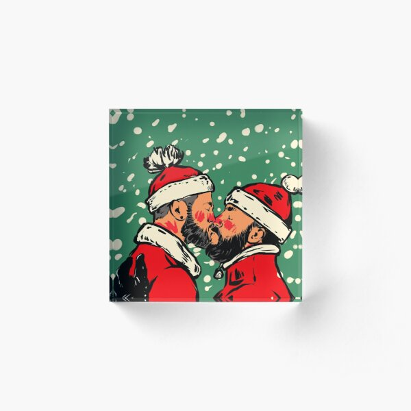Winter Kiss - Two Santa Clauses Kissing  plus snow  Acrylic Block