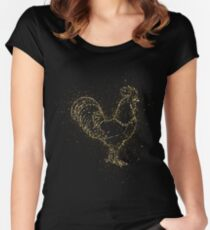 Rooster cock tap golden ornament Gold Women's Fitted Scoop T-Shirt