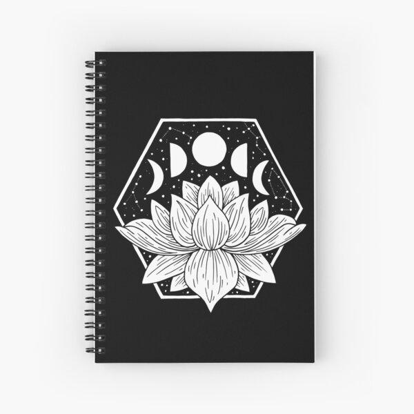 Moonlight Lotus Flower - Geometric Illustration Spiral Notebook
