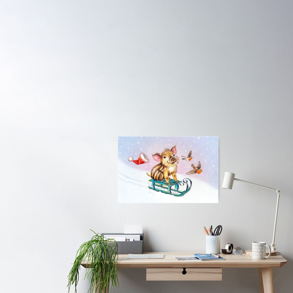 Christmas piglet by Maria Tiqwah Poster