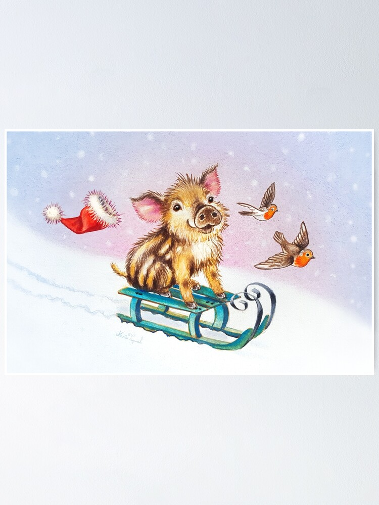 Alternate view of Christmas piglet by Maria Tiqwah Poster