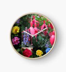 Erinnerungen an den Sommer - Floral Collage Uhr