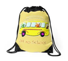 Off to School drawstring bag, etc. design Drawstring Bag