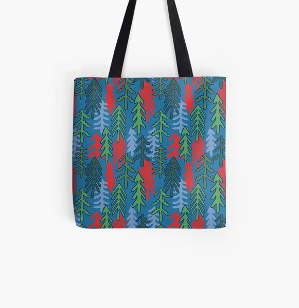 Red green blue coniferous fir pine tree forest repeat pattern All Over Print Tote Bag