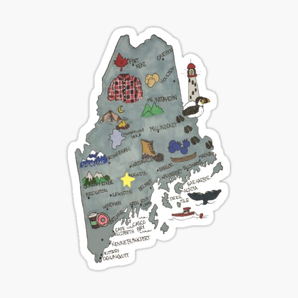 Illustrated Maine Map #1 Sticker