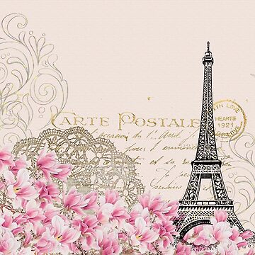 Blush,pink,rustic,floral,Eiffel tower,Paris,collage, by love999