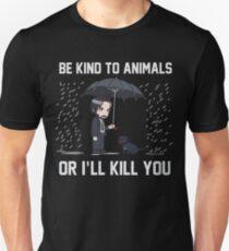 Camiseta ajustada Sé amable con los animales o te mataré Camisa Mecha