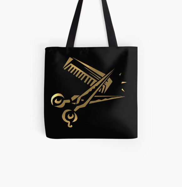 golden scissors and comb in black All Over Print Tote Bag