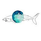 Mako Shark Illustration over Turquoise Ink by Whitney Cole