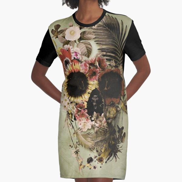 Garden Skull Light Graphic T-Shirt Dress