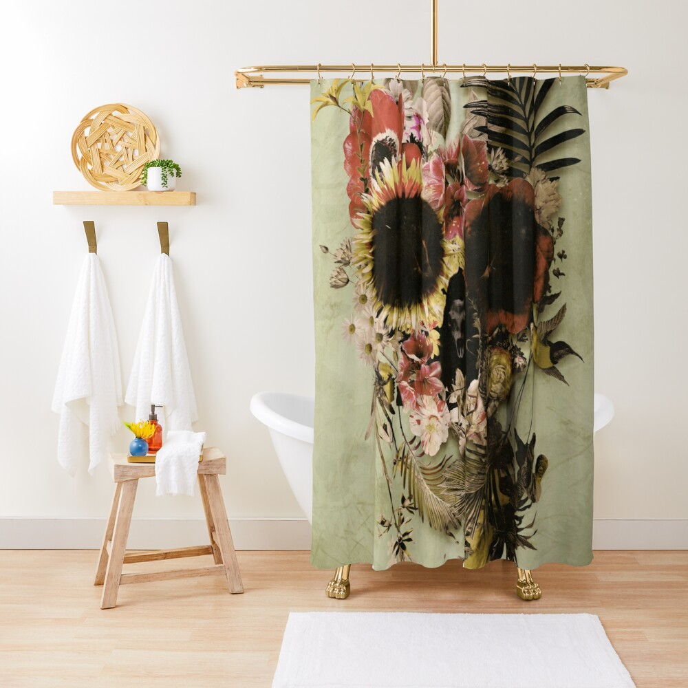 Garden Skull Light Shower Curtain