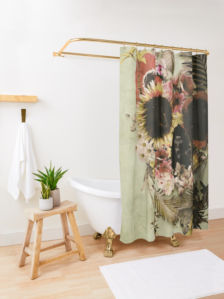 Alternate view of Garden Skull Light Shower Curtain
