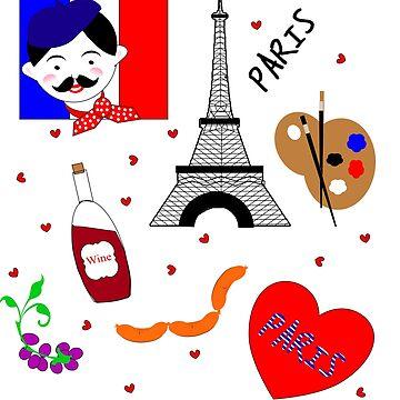 Paris France Cute Design by Artification