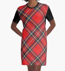 Königlicher Stewart-Tartan-Druck T-Shirt Kleid