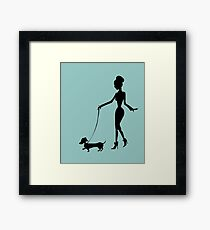 Flaunting The Pooch (teal) - Dachshund Sausage Dog Framed Print