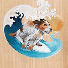 Surfing cute Dog by Ruta Dumalakaite