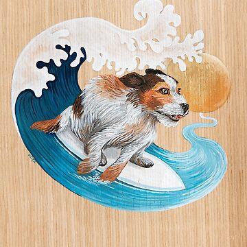 Perro lindo que practica surf de Ruta