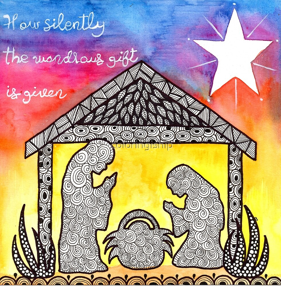 Watercolor Doodle Art | Nativity Scene by coloringiship