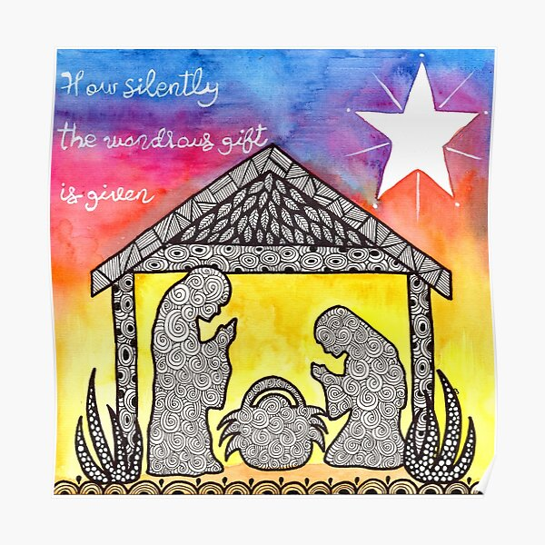 Watercolor Doodle | Nativity Scene Poster