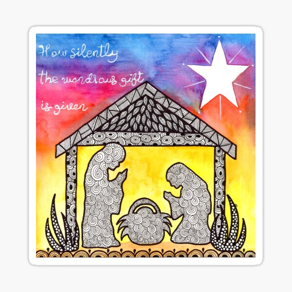 Watercolor Doodle | Nativity Scene Sticker