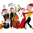 New Year's Tango of the Funny Pigs (Watercolour) by MariaSibireva