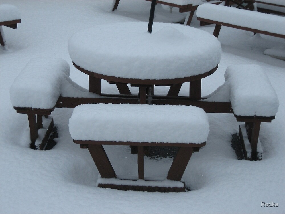 Snow on Table and Chairs in Garden by Rodka