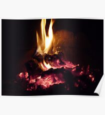 Winter Fire Place Poster