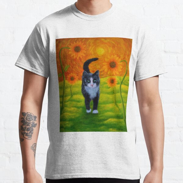 Cat and Sunflowers Classic T-Shirt