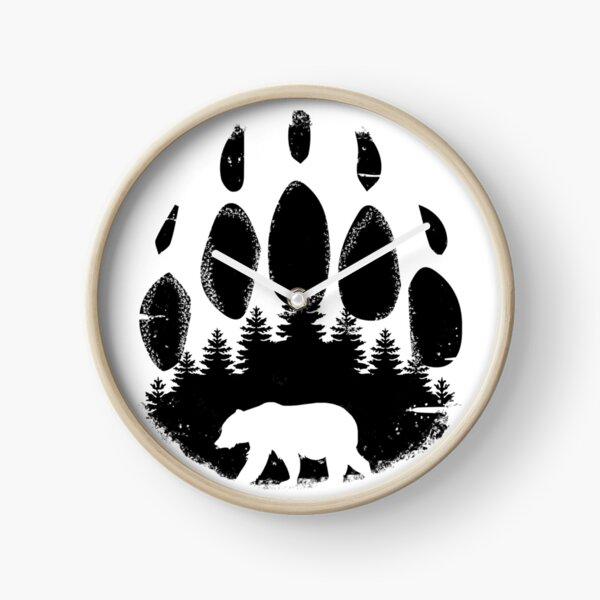 Black Bear Paw Print - Forest Landscape Clock