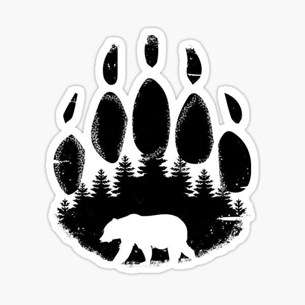 Black Bear Paw Print - Forest Landscape Sticker