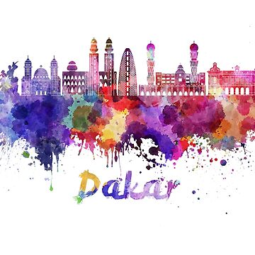 Dakar skyline in watercolor splatters by paulrommer