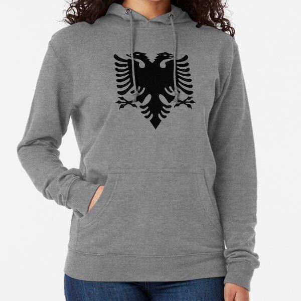 ALBANIA. Black Eagle on Red, Albanian Flag, Flag of Albania, Tale of the Eagle. Lightweight Hoodie