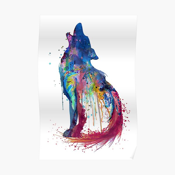 Howling Wolf Watercolor Silhouette Poster