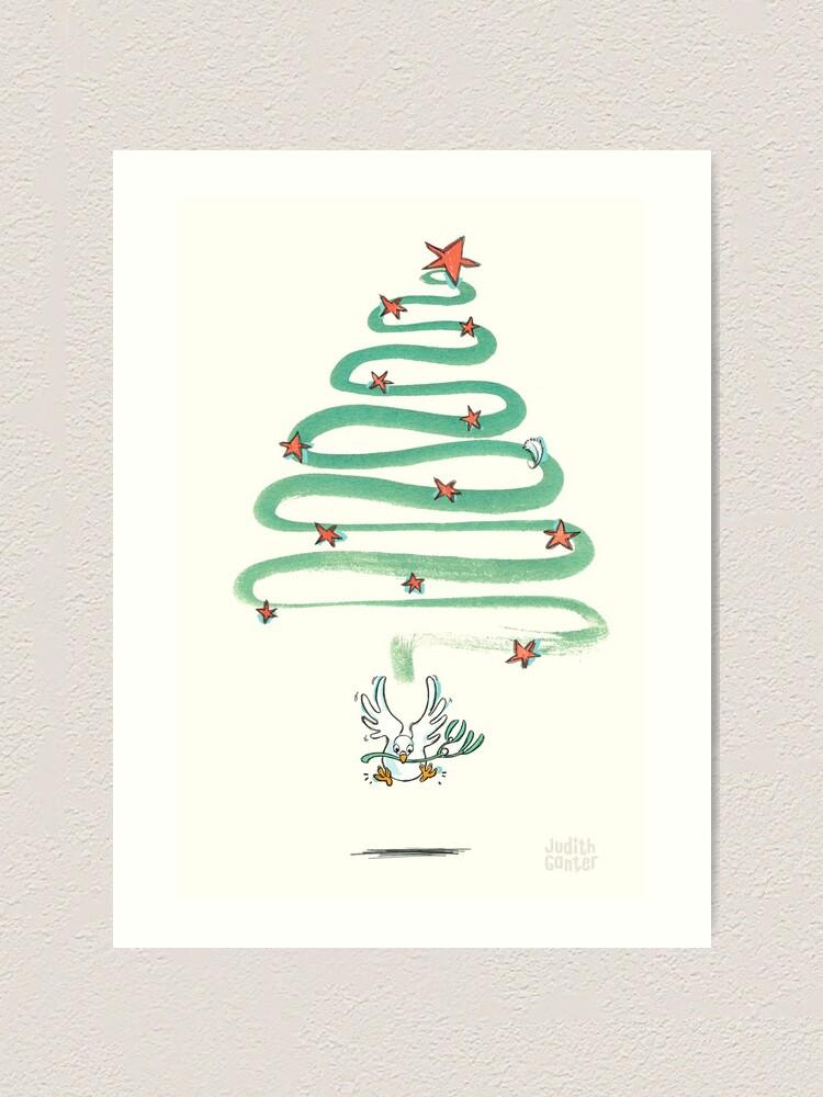 Alternative Ansicht von Friedenstaube Weihnachten – hell Kunstdruck