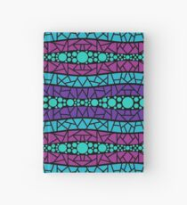 Mosaic Wavy Stripes in Purple, Pink, Blue on Black Hardcover Journal
