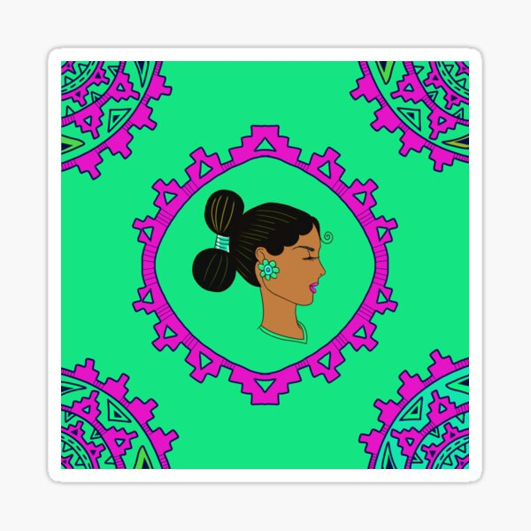 Diné Woman Blooms Sticker