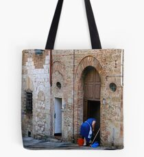 Woman Cleaning the Street Front, Italy Tote Bag