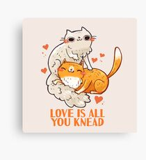 Cute Cats - Love is all you knead  Canvas Print