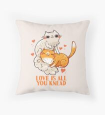 Cute Cats - Love is all you knead  Throw Pillow