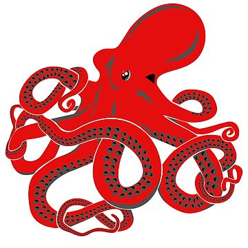 Red Octopus - Kraken Myth - Tentacles by ingeniusproduct