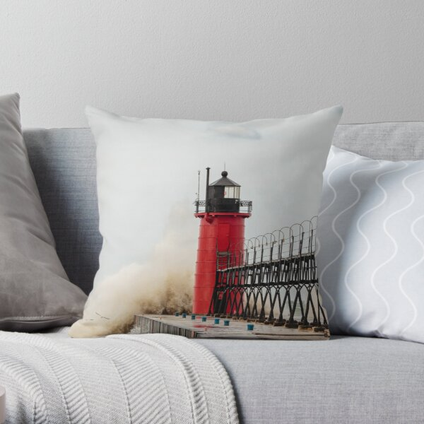 South Haven Lighthouse Withstanding the Waves Throw Pillow
