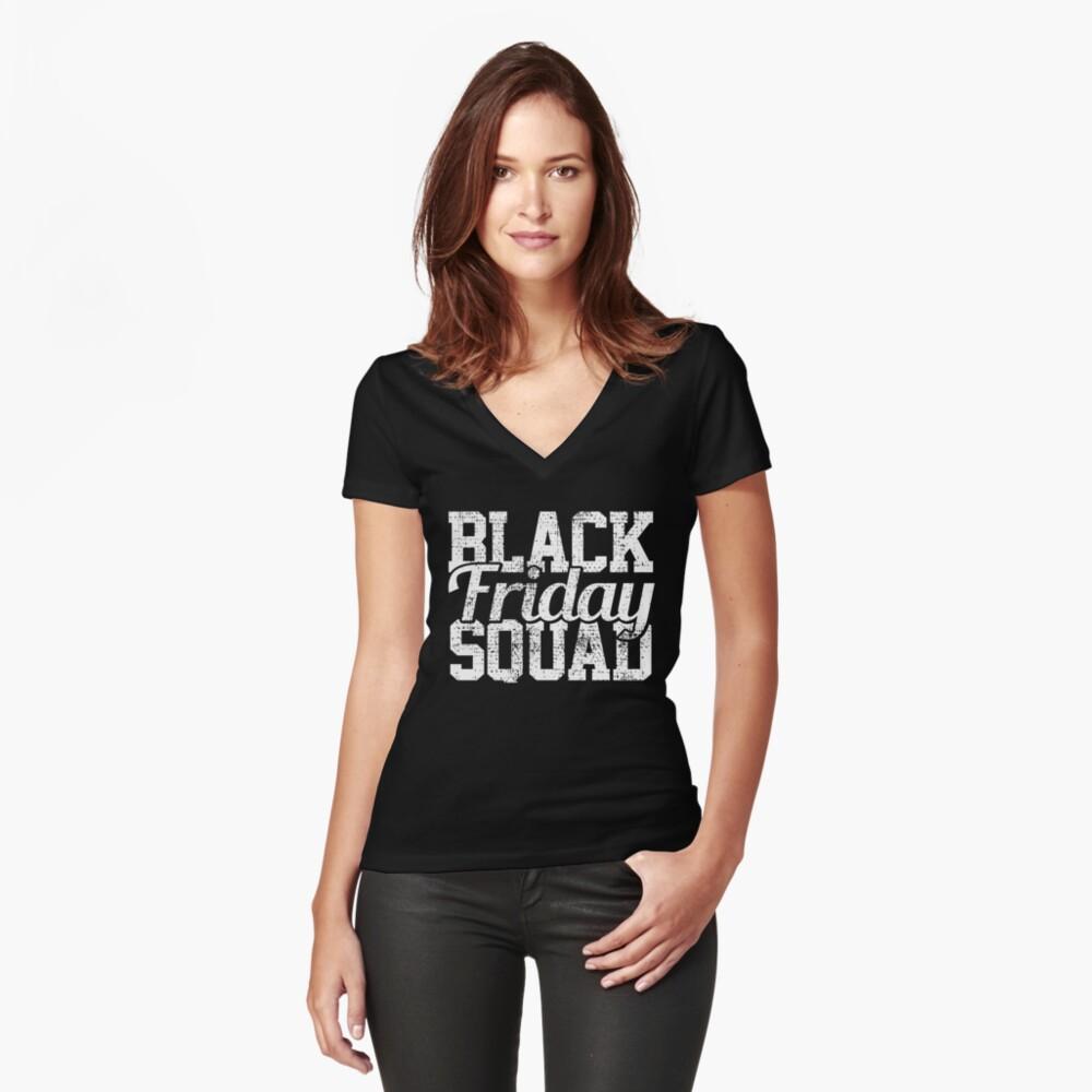 Black Friday Squad Tailliertes T-Shirt mit V-Ausschnitt