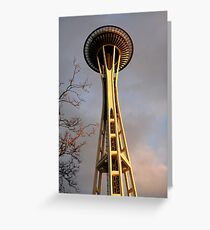 Sunset Space Needle Greeting Card