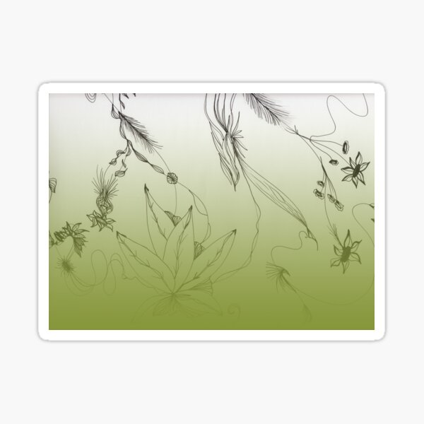 Green Floral Art - Gradient Sticker