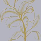 Golden Flower on Grey by plumecloth