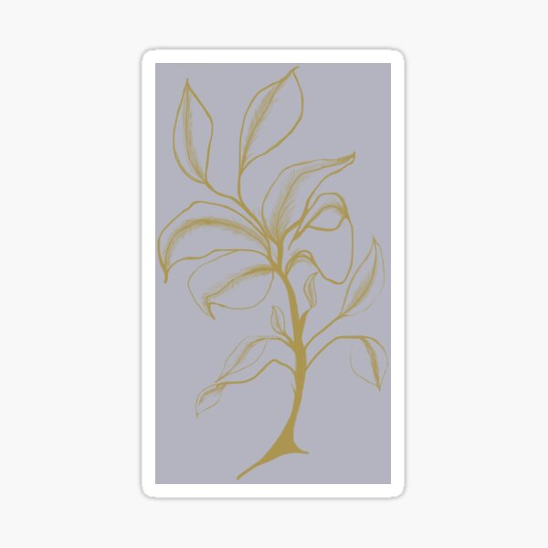 Golden Flower on Grey Sticker