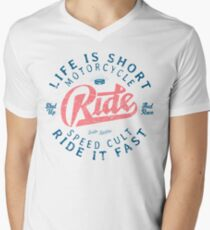 Motorcycle Speed Cult T-Shirt mit V-Ausschnitt für Männer
