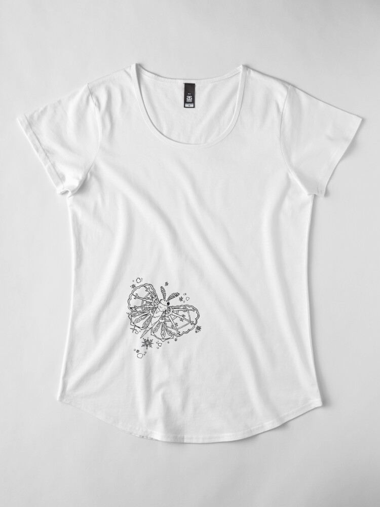 Alternate view of Abominable Snow Moth: Winter Snowflake Flight Premium Scoop T-Shirt